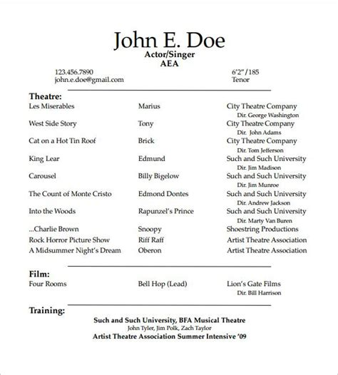 student actor resume template   create  good