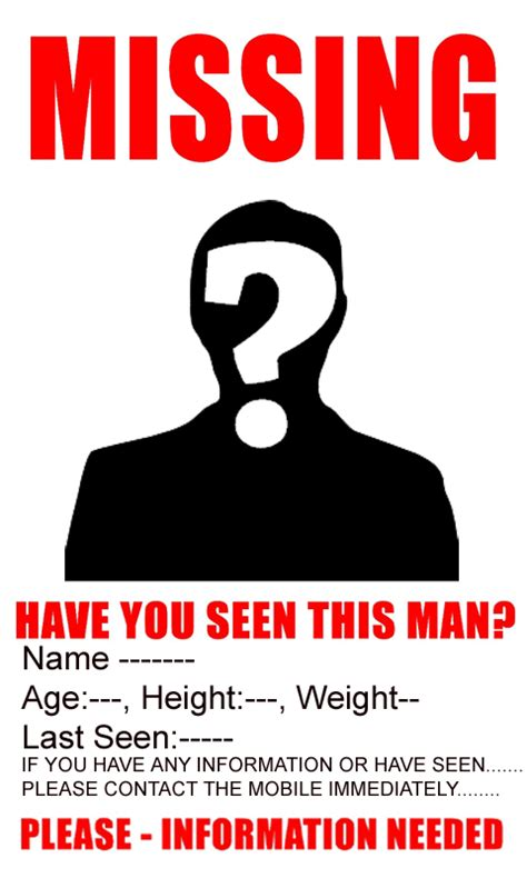 Funny Missing Person Template Transparent