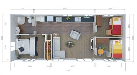 3 bedroom small house plans 2 or 3 brm tiny house 12x5m unit2go transportable cabins 17992 | 12x5 3brm floor plan