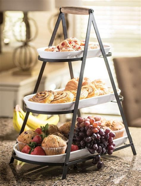tier buffet server  stoneware serving platter trays