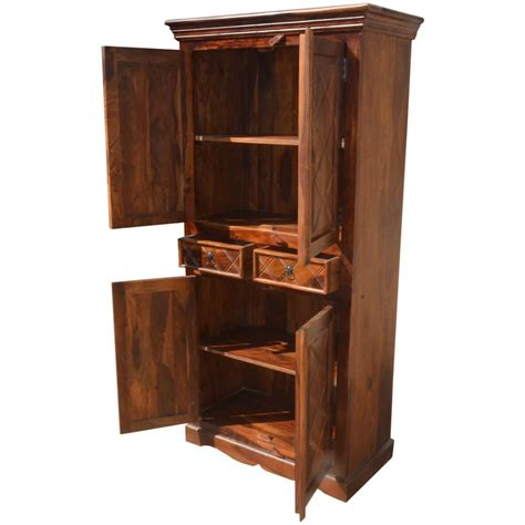 Armoire Cupboard by Rustic Wood 2 Storage Drawers Cupboard Wardrobe Armoire