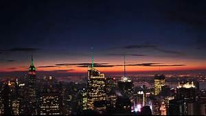 Manhattan, United, States, Of, America, Sunset, Dusk, Red, Sky, On