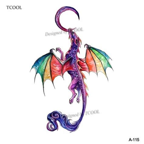 wyuen watercolor dragon animals temporary tattoos  kids