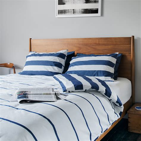 Imivimbo Navy & White Striped Bedding  Unique & Unity