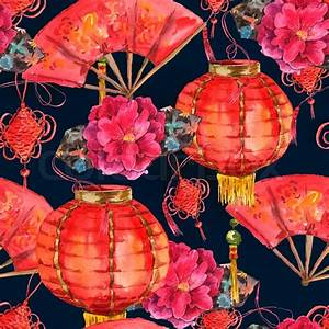Seamless Watercolor Background with Oriental Chinese New