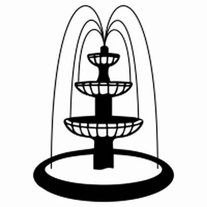 Fountain Water Drawing Clipart Drinking Simple Easy