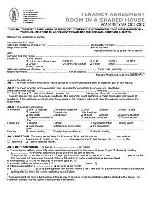 printable room rental agreement shared housing edit