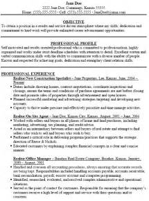 Simple Real Estate Agent Resume With Objective And