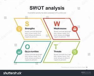 Flat Business Presentation Vector Slide Template With Swot