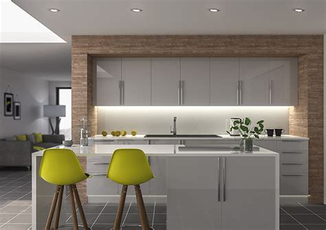Ultragloss Light Grey Kitchen Doors  Made To Measure From