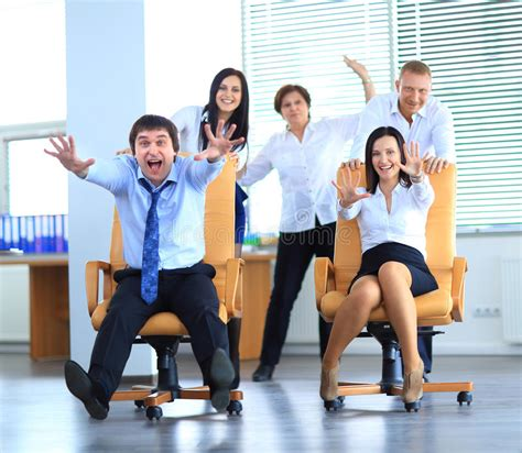 Happy Office Employees Having Fun At Work Stock Image ...