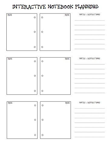 interactive notebook templates school of fisher interactive notebook planning