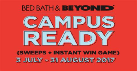 Bed Bath & Beyond Campus Ready Instant Win Game 8/31/17