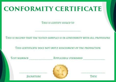 certificate  conformity sample template