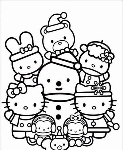 Kitty Colorear Hello Navidad Dibujos Amigos Sus