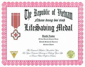 republic of vietnam life saving medal display recognition With life saving award certificate template