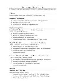 Baker Resume Summary Exles by Bakery Resume Objective