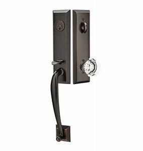 Adams exterior tubelatch door set with old town knob for Exterior door hardware