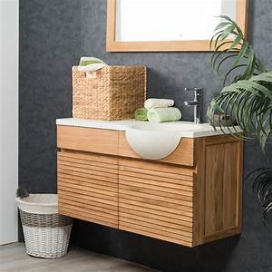 meuble sous vasque simple vasque suspendu en bois teck With salle de bain design avec wanda collection vasque