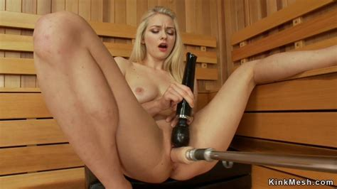 Shaved Blonde Fucks Machine In Sauna Video 1 Alli Rae