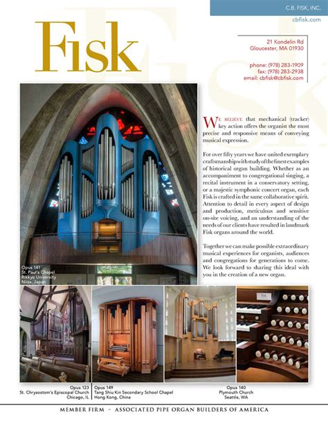 Cb Fisk Inc Associated Pipe Organ Builders Of America