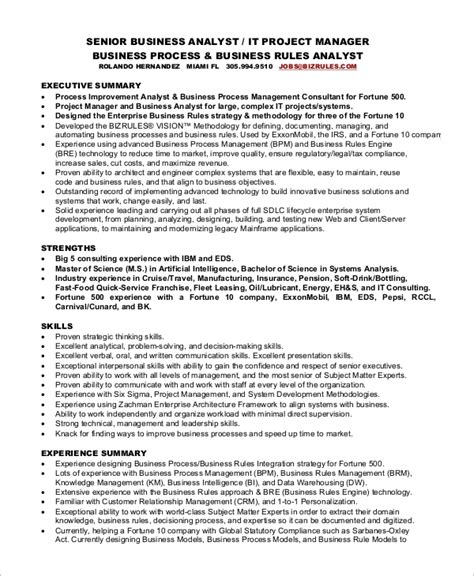 Senior Project Manager Resume Summary 8 sle project manager resumes pdf word