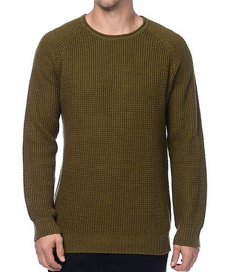 waffle knit sweater ninth commando green waffle knit sweater zumiez