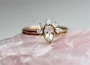 14k moonstone wedding set moonstone engagement ring set With wedding ring wrap set