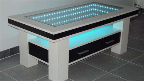 table basse design led miroir infini