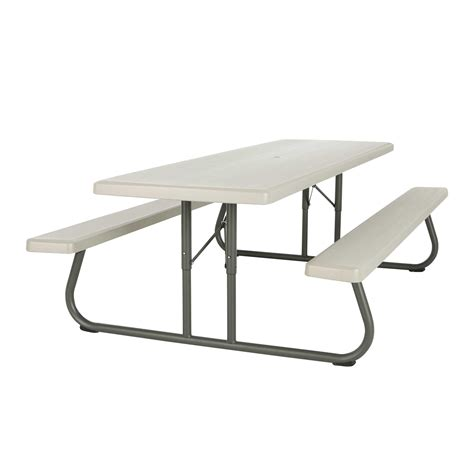 lifetime folding picnic table lifetime products 80123 8 ft putty commercial folding