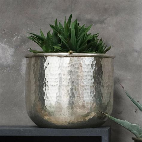 buy silver hammered finish indoor planters  worm