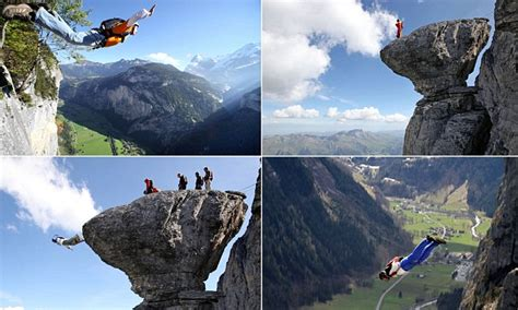 base jumpers throw   cliff  swiss alps