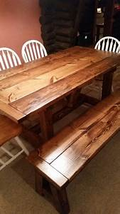 6ft, Handcrafted, Harvest, Table, W, Matching, Bench