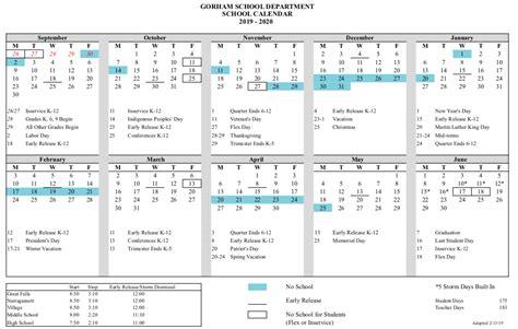 school calendar district information gorham school district