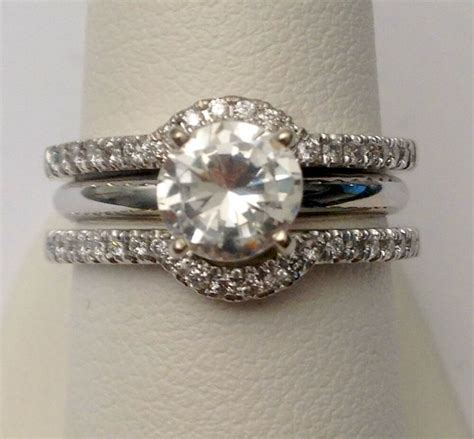 solitaire enhancer diamonds ring guard wrap white gold contour band halo style ebay