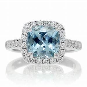 Cushion aquamarine 8mm diamond halo engagement ring for Aquamarine wedding rings