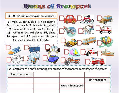 means of transport ss transportation exercises and worksheets