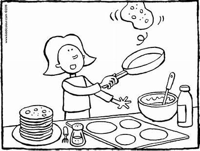 Colouring Baking Pancakes Kleurplaat Pannenkoeken Koken Emma