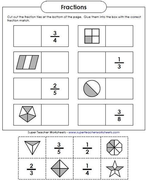 just an easy fun cut and glue activity for reviewing basic fractions math super teacher
