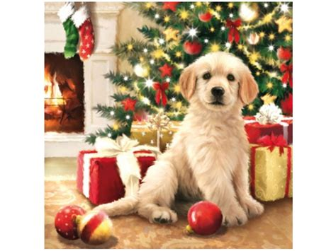 papier servietten hund golden retriever weihnachten