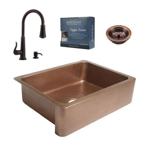 farmhouse copper kitchen sink sinkology pfister all in one courbet copper farmhouse 7146