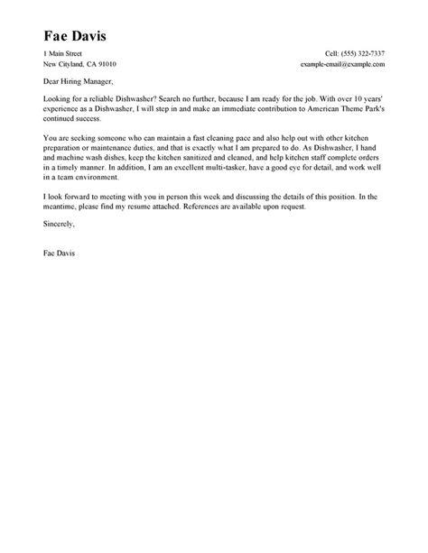 dishwasher cover letter exles media entertainment