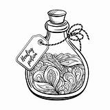 Potion Magic Coloring Bottle Vector Calming Graphic Antistress Abstract sketch template