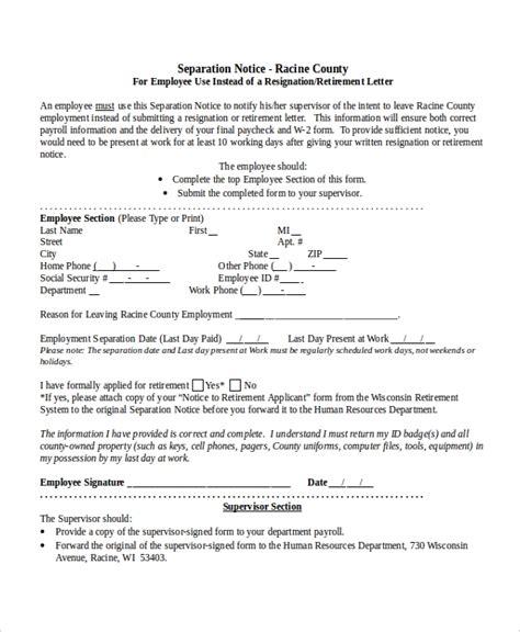 separation notice templates docs ms word apple pages pdf free premium templates