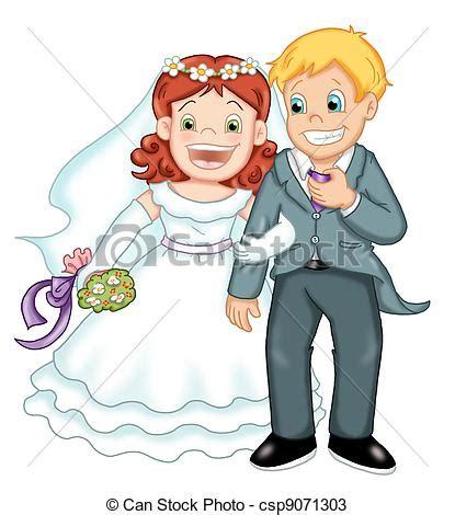 clipart sposi coppia sposi colorato illustrazione