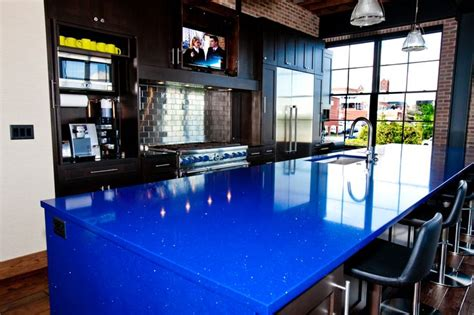 modern loft kitchen  blue quartz countertop kitchen