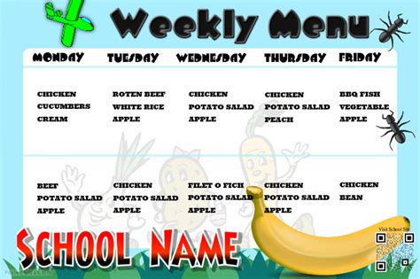 Canteen Menu Template by Weekly Menu Poster For School Canteens And School