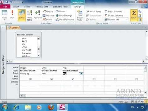 Using Access 2010  Create A Summary Query In Query Design View Youtube