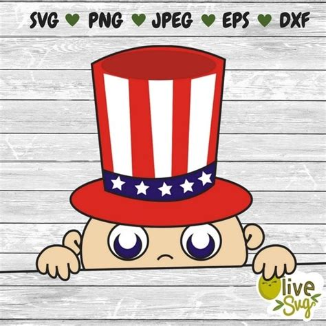 Check all free svgs we have for 4th of july! 4th of July Peeking Baby SVG, baby svg, maternity svg ...
