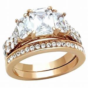 4.5 Cttw Emerald Cut Cz Rose Gold Ip Wedding Engagement ...